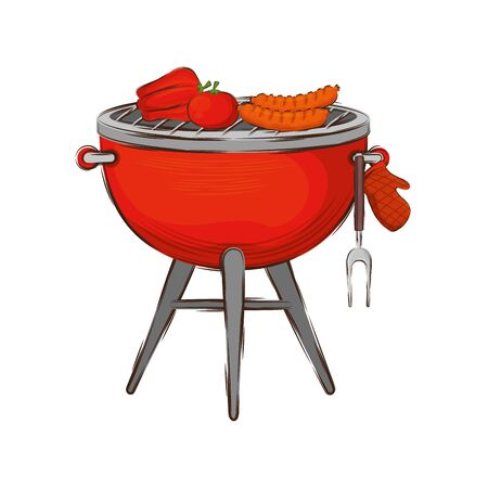 oven barbecue with food isolated icon vector illustration design Stock Vector - 135770776