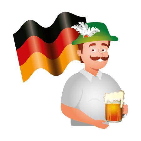 Oktoberfest man design, Germany festival celebration europe landmark munich culture and party theme Vector illustration Иллюстрация