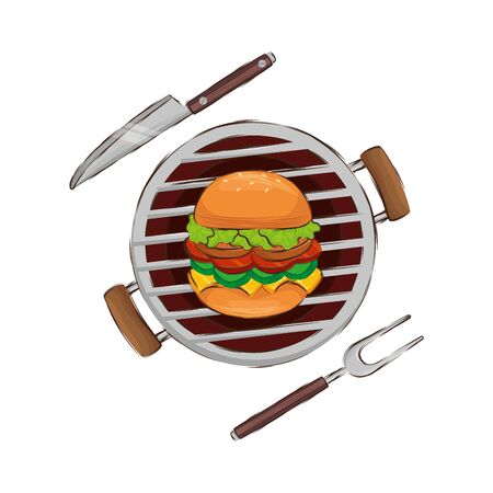oven barbecue with hamburger isolated icon vector illustration design