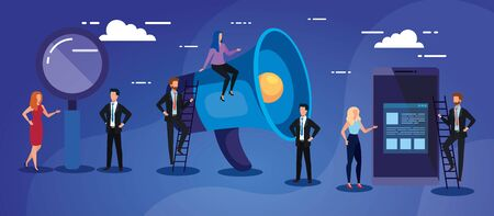 Megaphone lupe and people design, Amplifer speaker bullhorn announce speech message communication and sound theme Vector illustration