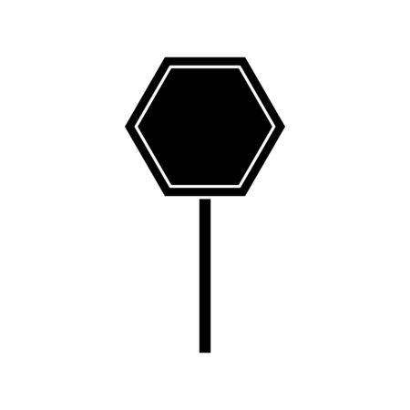 silhouette of stick signage alert isolated icon vector illustration design Ilustração