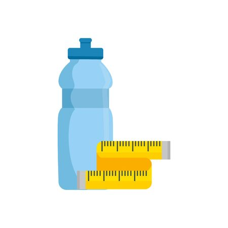bottle water with tape measure isolated icon vector illustration design