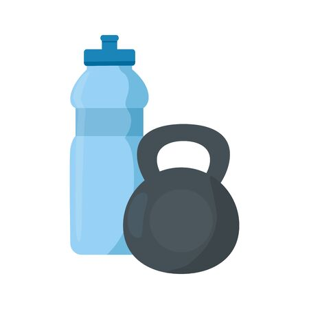 dumbbell equipment gym with bottle water vector illustration design Illusztráció