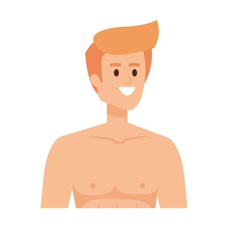 young man shirtless avatar character vector illustration design Banque d'images - 135849556