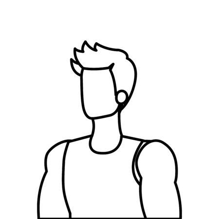 young man athlete line style icon vector illustration design Foto de archivo - 135853875