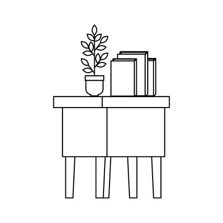 table wooden with books and houseplant vector illustration design  イラスト・ベクター素材