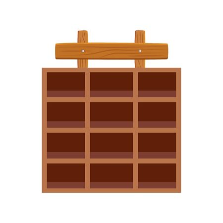 Shop wood furniture design, Store market shopping commerce retail buy and paying theme Vector illustration