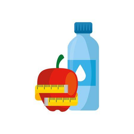 Flaschenwasser mit Apfel- und Maßbandvektorillustrationsdesign