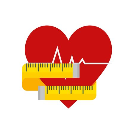 heart rate with measuring tape isolated icon vector illustration design