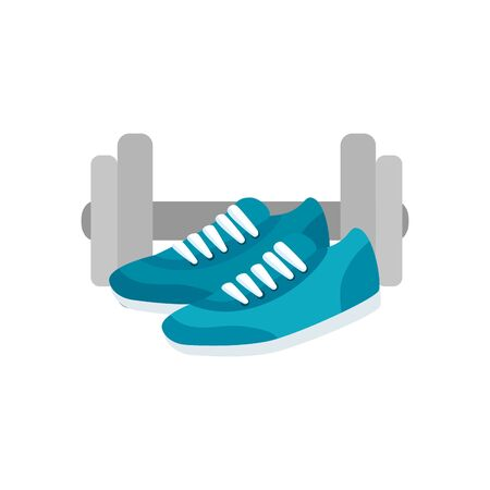 shoes of sport with dumbbell isolated icon vector illustration design
