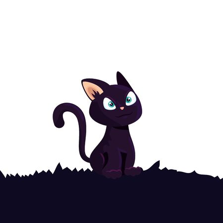 cat feline animal of halloween vector illustration design