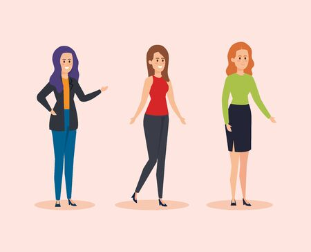 set women teacher with casual clothes vector illustration  イラスト・ベクター素材