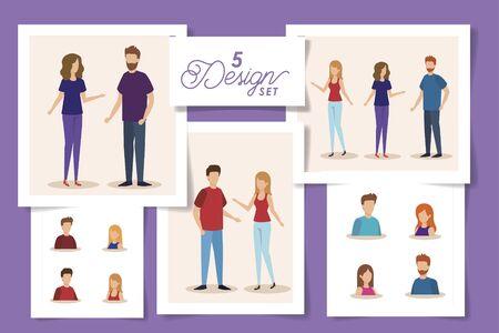 Stellen Sie fünf Designs von jungen Menschen Avatar-Charakter-Vektor-Illustration-Design ein