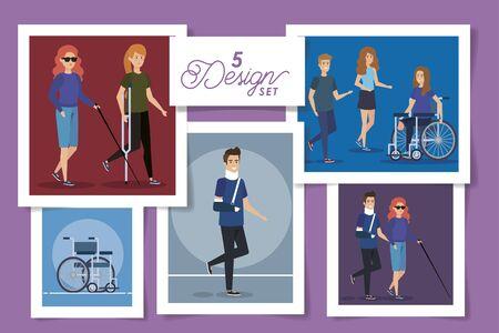 set five designs of people disabled vector illustration design
