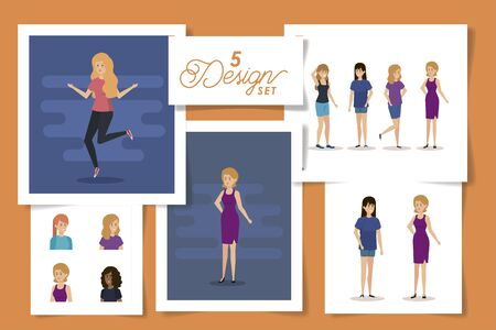 set five designs of young womens vector illustration design 版權商用圖片 - 135904918
