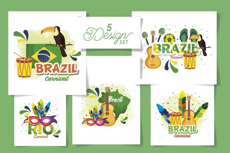 set five designs of brazil carnival with icons vector illustration design