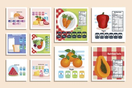 nutrition facts with healthy food vector illustration design Ilustração