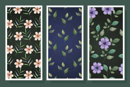bundle of patterns flowers and leafs vector illustration design