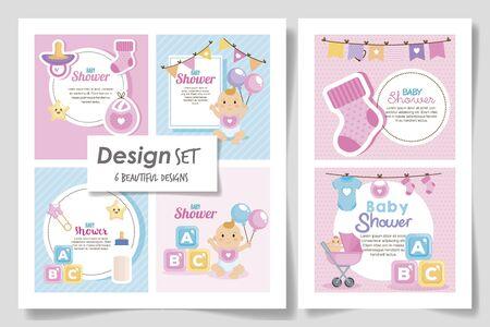 Establecer seis diseños de baby shower para niña, diseño de ilustraciones vectoriales