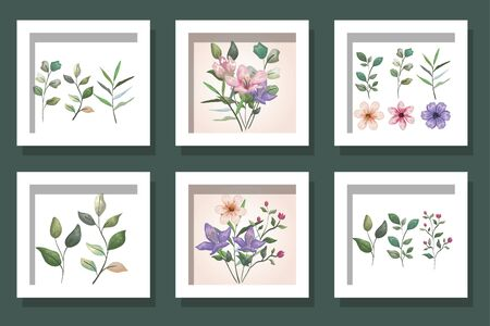 bundle cute flowers and branches with leafs vector illustration design  イラスト・ベクター素材