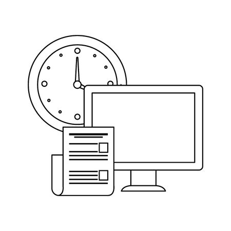 desktop computer with time clock vector illustration design Imagens - 135920609