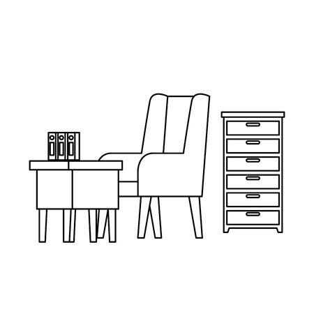 confortable sofa and wooden table livingroom scene vector illustration design Foto de archivo - 135920765