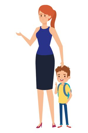 beautiful mother with little boy characters vector illustration design