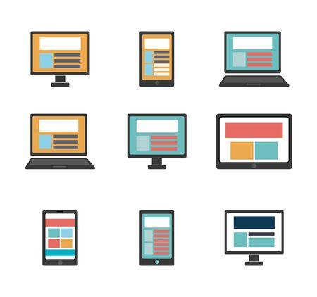 Paquete de computadoras y dispositivos tecnológicos, diseño de ilustraciones vectoriales