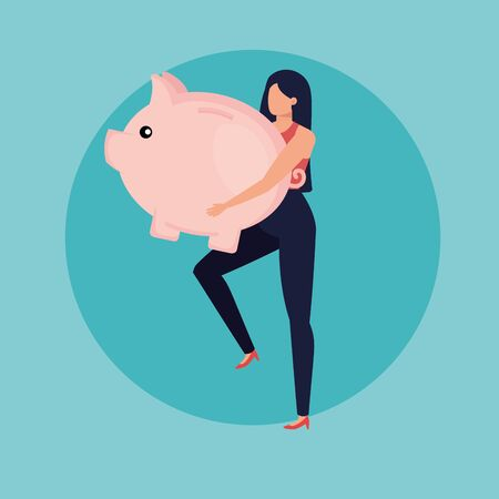 young woman with piggy savings character vector illustration design