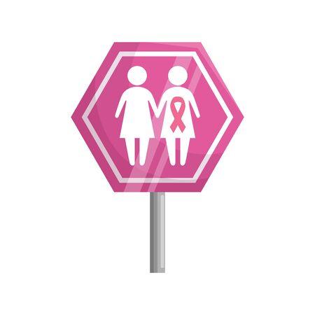 stick signage of the fight cancer against vector illustration design
