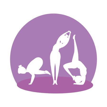 silhouette of girls group practicing pilates vector illustration design Illustration