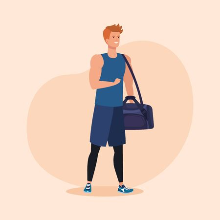 fitness man with bag to healthy activity over pink background, vector illustration Ilustracja