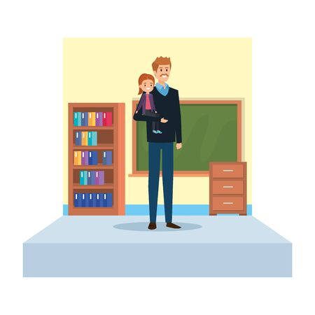 male teacher and little girl in school classroom vector illustration design