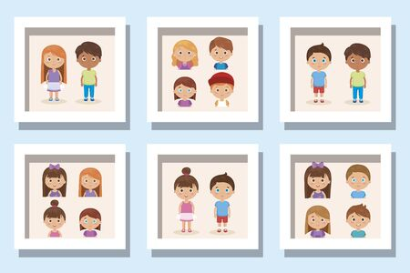 bundle of cute kids avatar character vector illustration design
