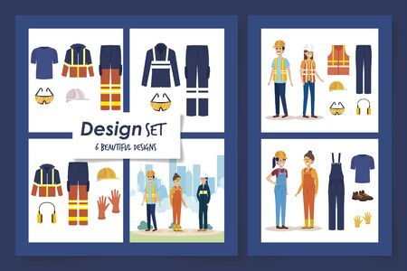 six designs of workers with uniforms and personal protection elements vector illustration design Vetores