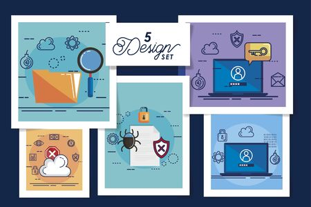 five designs of cyber security and set icons vector illustration design