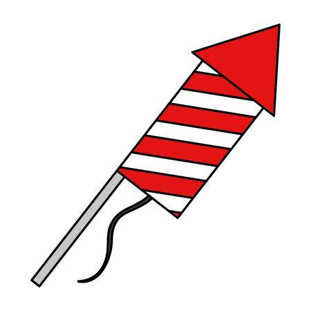 rocket fireworks celebration isolated icon vector illustration design