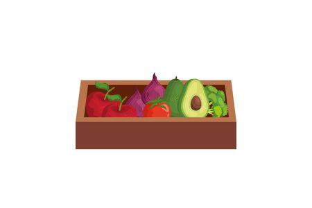 Légumes sains dans une boîte en bois icône isolé conception d'illustration vectorielle