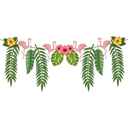 branches with leafs and flamingos hanging isolated icon vector illustration design