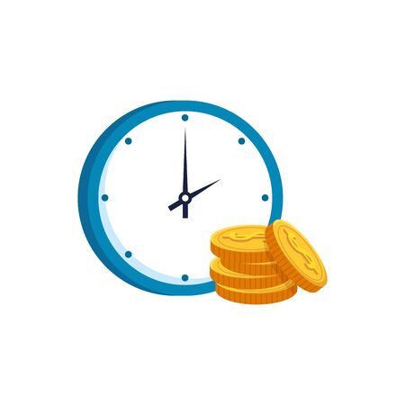 pile coins with clock time isolated icon vector illustration design