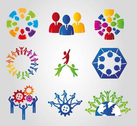 bundle silhouette of teamwork and icons vector illustration design Ilustração