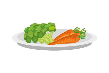 Plate design, Vegetables organic food healthy fresh natural and market theme Vector illustration