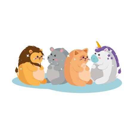 Unicorn lion hippo and cat cartoon design, Magic fantasy fairytale childhood and animal theme Vector illustration