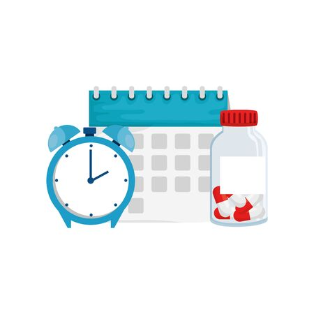 Vitamin jar clock and calendar design, Healthy lifestyle fitness bodybuilding bodycare activity exercise and diet theme Vector illustration