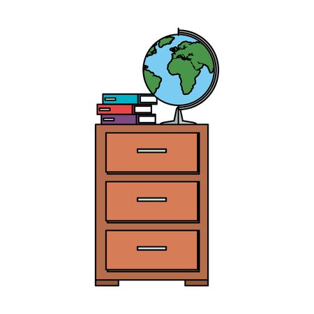 world planet map and books in drawer vector illustration design