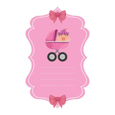 baby shower card with little newborn in cart vector illustration design