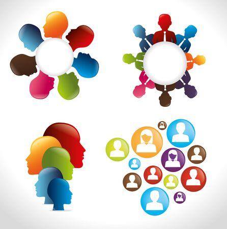bundle silhouette of teamwork scenes avatar character vector illustration design