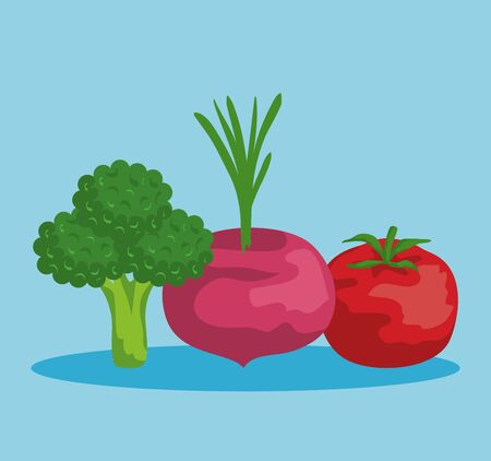 fresh broccoli with onion and tomato vegetable to healthy vector illustration