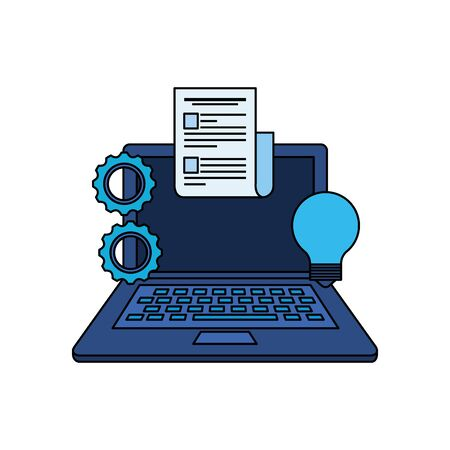 laptop computer with gears settings vector illustration design 向量圖像