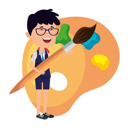 happy student boy with paint brush and pallette vector illustration design
